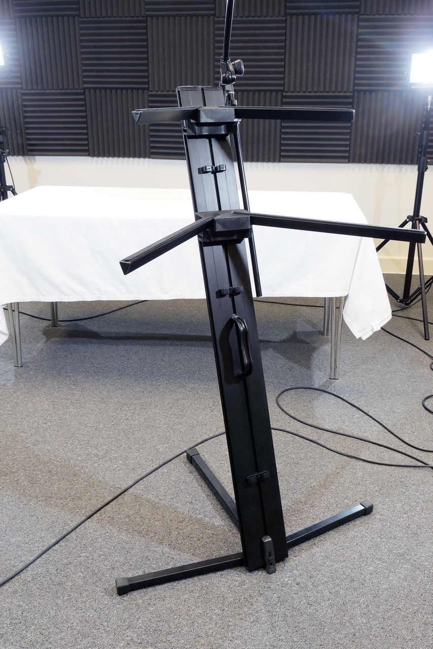 Ultimate Support 2-tier keyboard stand with microphone boom for sale at Plasma Music