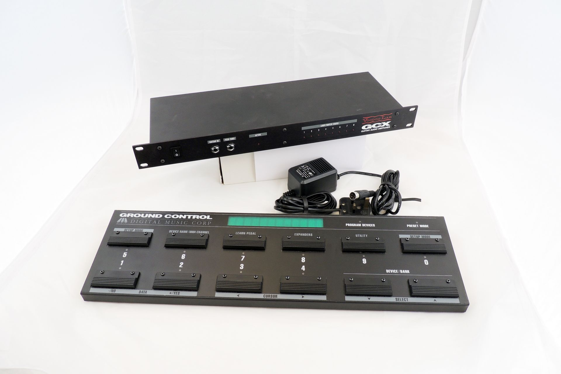 Voodoo Labs GCX guitar switching system and Ground Control floor controller for sale at Plasma Music